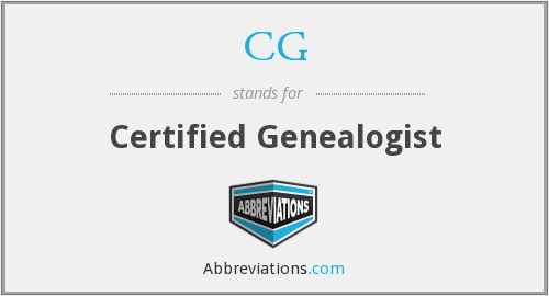 CG - Certified Genealogist