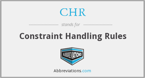CHR - Constraint Handling Rules