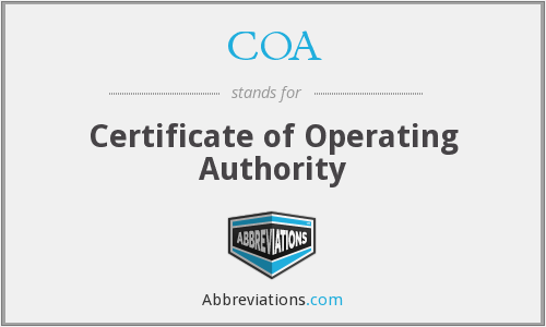 COA - Certificate of Operating Authority