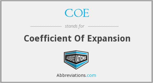 COE - Coefficient Of Expansion