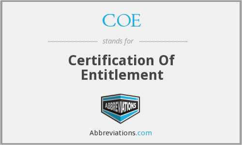 COE - Certification Of Entitlement
