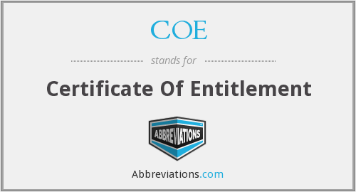 COE - Certificate Of Entitlement