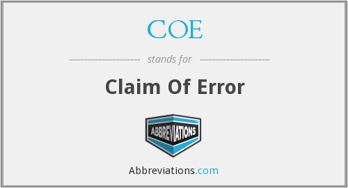 COE - Claim Of Error