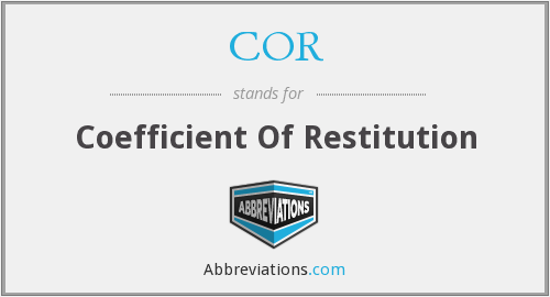 COR - Coefficient Of Restitution
