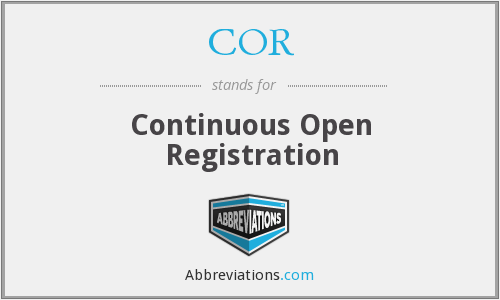 COR - Continuous Open Registration