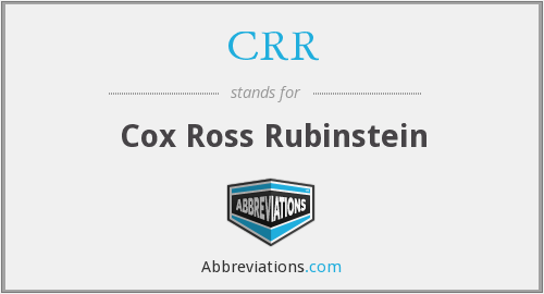 CRR - Cox Ross Rubinstein