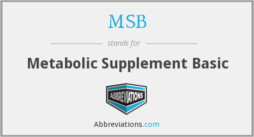 MSB - Metabolic Supplement Basic
