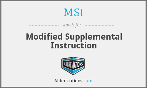 MSI - Modified Supplemental Instruction