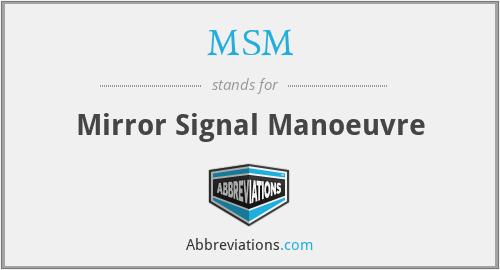 MSM - Mirror Signal Manoeuvre