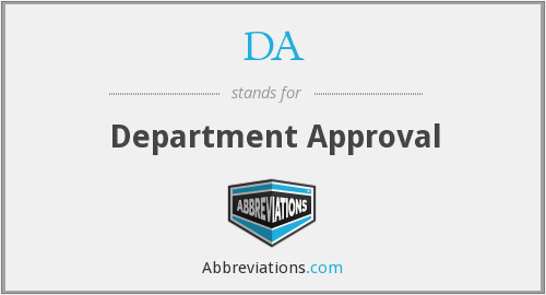 DA - Department Approval