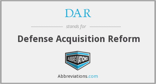 DAR - Defense Acquisition Reform