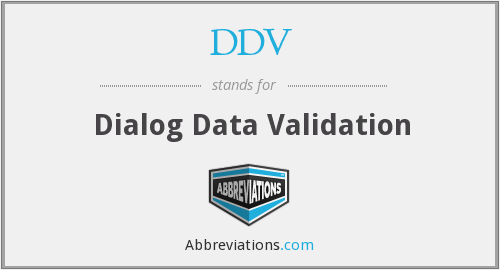 What does DDV stand for?