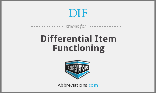 DIF - Differential Item Functioning