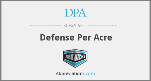 DPA - Defense Per Acre