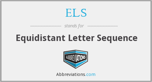 ELS - Equidistant Letter Sequence