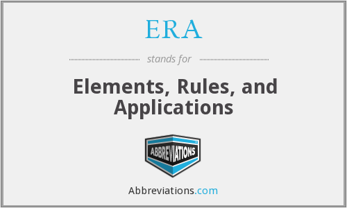 ERA - Elements, Rules, and Applications