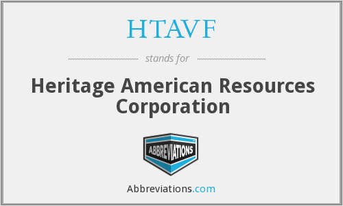 HTAVF - Heritage American Resources Corporation