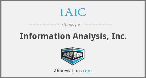 IAIC - Information Analysis, Inc.