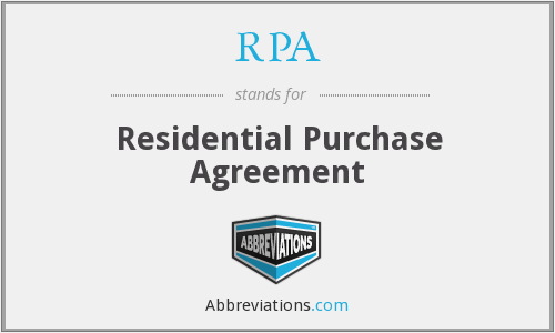RPA - Residential Purchase Agreement