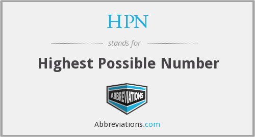 HPN - Highest Possible Number