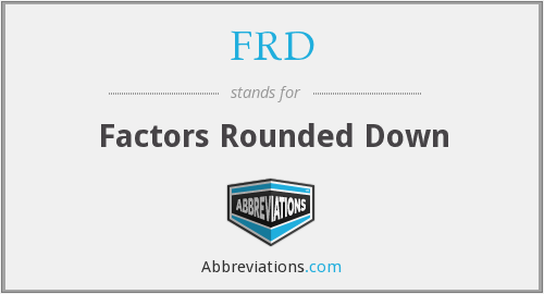 FRD - Factors Rounded Down