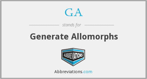 GA - Generate Allomorphs