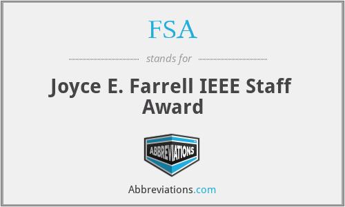FSA - Joyce E. Farrell IEEE Staff Award
