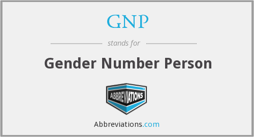 GNP - Gender Number Person