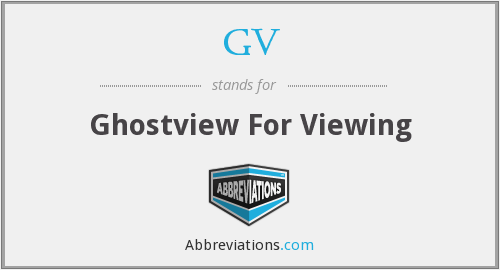 GV - Ghostview For Viewing