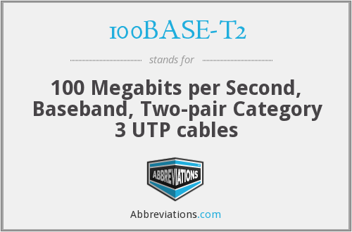 100BASE-T2 - 100 Megabits per Second, Baseband, Two-pair Category 3 UTP cables