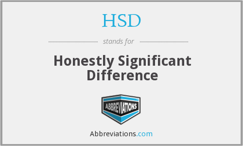 HSD - Honestly Significant Difference