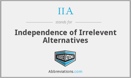 IIA - Independence of Irrelevent Alternatives