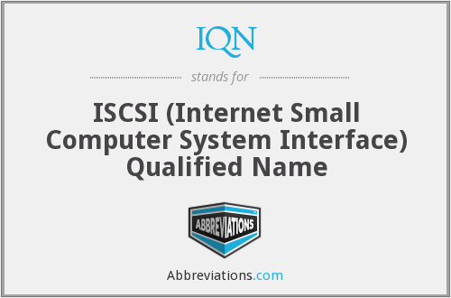 IQN - ISCSI (Internet Small Computer System Interface) Qualified Name