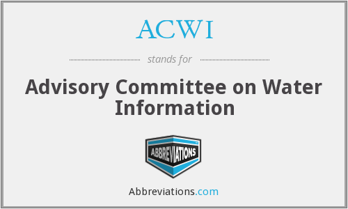 ACWI - Advisory Committee on Water Information