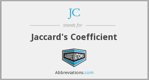 JC - Jaccard's Coefficient