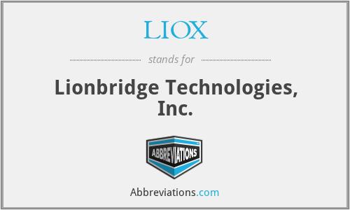 LIOX - Lionbridge Technologies, Inc.