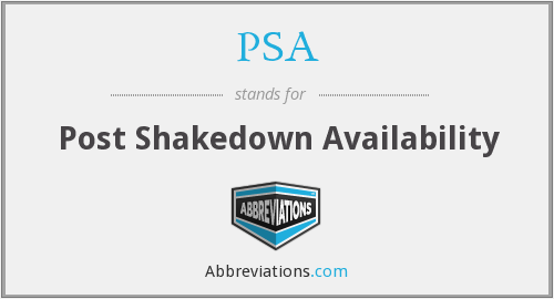 PSA - Post Shakedown Availability