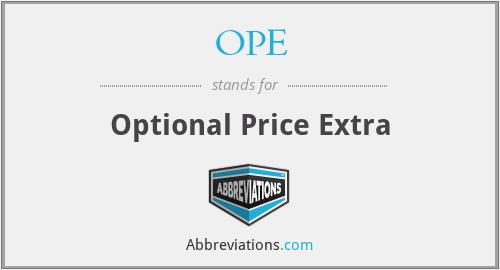 OPE - Optional Price Extra