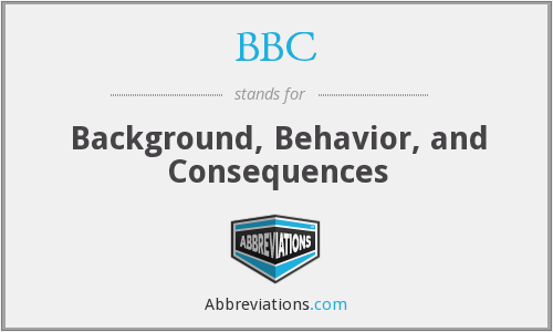 BBC - Background, Behavior, and Consequences