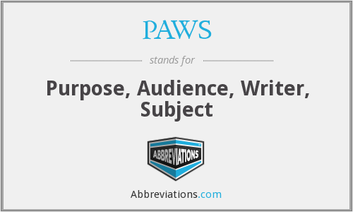 PAWS - Purpose, Audience, Writer, Subject