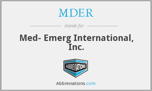 What does MDER stand for?