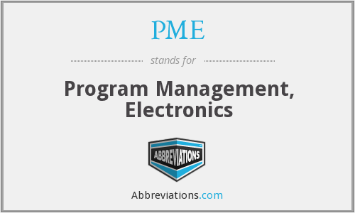 PME - Program Management, Electronics