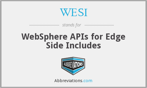 WESI - WebSphere APIs for Edge Side Includes