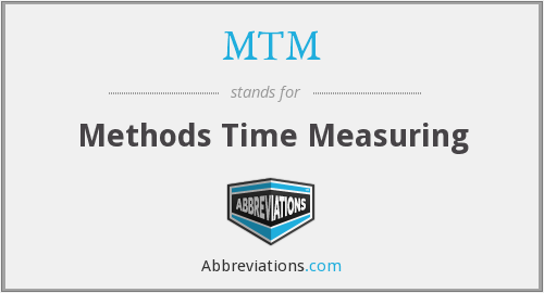 MTM - Methods Time Measuring