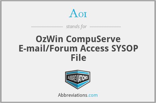 A01 - OzWin CompuServe E-mail/Forum Access SYSOP File