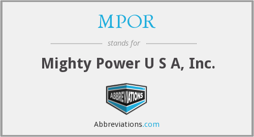 What does MPOR stand for?