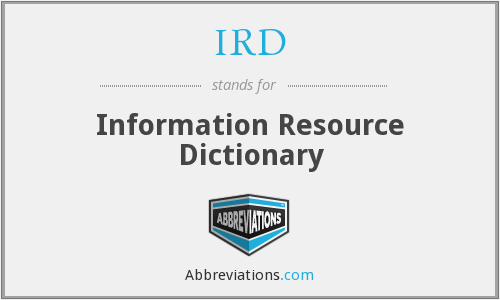 IRD - Information Resource Dictionary