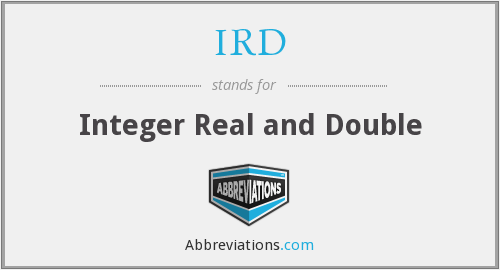 IRD - Integer Real and Double