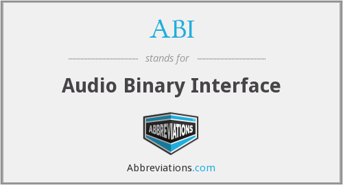 ABI - Audio Binary Interface
