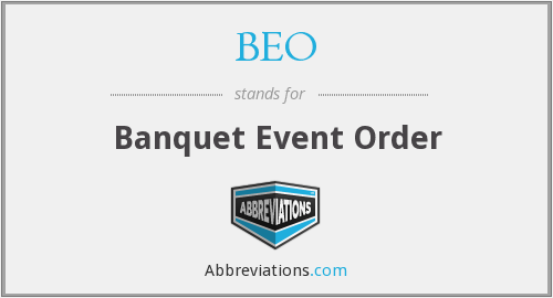 What is the abbreviation for banquet event order?